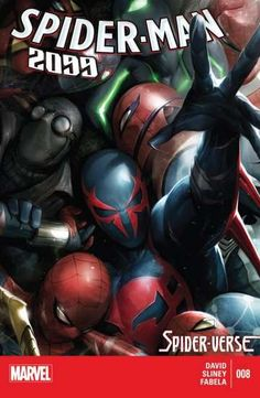 """Spider-Man 2099 (2014-) #8: Spider-Man 2099 and Lady Spider must reunite with the rest of the Spiders in time for the final battle against the Inheritors! Who will survive the Spider-Verse? Will Miguel finally be able to return home? And by """"home"""" do we mean 2099 or 2014?"""
