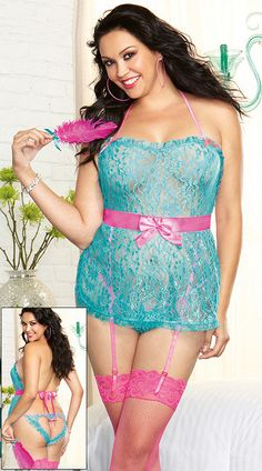 5eda2fb5ff Plus size turquoise floral lace babydoll featuring tie back closures  lingerie set Lingerie Plus