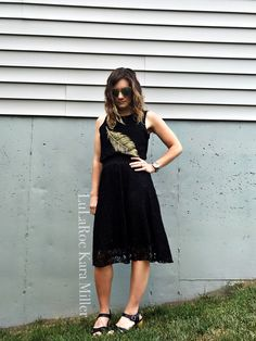LuLaRoe black Lola midi lace skirt and black graphic tee tank with Clarks chunky clog sandals for summer fashion trends and style inspiration! Shop here: https://www.facebook.com/groups/LularoeKaraMiller/