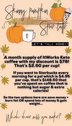 It Works Global, My It Works, Skinny Coffee, It Works Distributor, It Works Products, Instagram Background, Crazy Wrap Thing, Coffee Pods, Pumpkin Spice