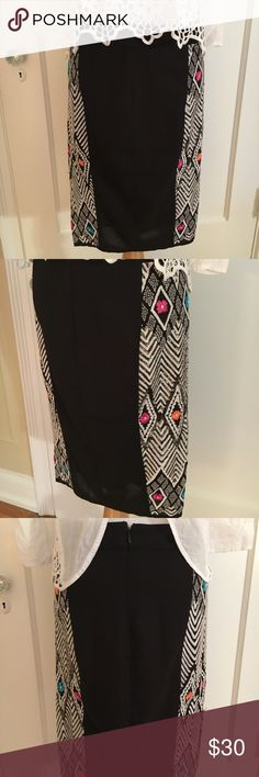 Asos embroidered flower pencil skirt This skirt is super cute! Lightweight, breatheable fabric with elegant embroidered patterns. Half of the skirt has sequin embellishment. It's beautiful! Offers welcome 😄 ASOS Skirts Pencil