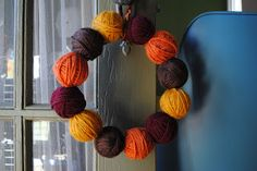 Polka Dots are Love (Paisley is Forever): Yarn Ball Wreath DIY!
