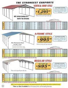 Lafayette Portable Buildings - Carport and RV Cover Price List Portable Carport, Diy Carport, Carport Plans, Shed Plans, Carport Ideas, Garage Plans, Diy Pergola, Garage Ideas, Pergola Ideas