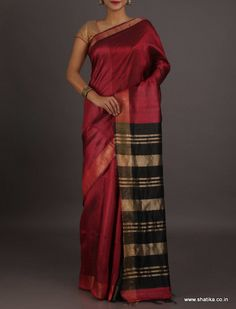 Sheena Plain With Striped Pallu #BhagalpuriSilkSaree