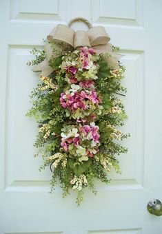 """Items similar to Hydrangea Wreath Swag~ """"Spring Blossoms"""" with buttercream berries ~winter, summer, fall, door decoration~Timeless Floral Creations on Etsy"""