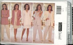Butterick 4451 Career Casual Wardrobe Pants, Skirt, Vest, Top, Sz 16-22 UNCUT - Sewing Patterns