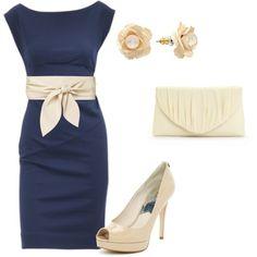 Blue/ ivory dress