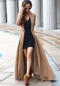 Camel Plain Zipper Band Collar Long Sleeve Slim Latest Autumn Winter Fashion Maxi Wool Coat - Outerwears - Tops