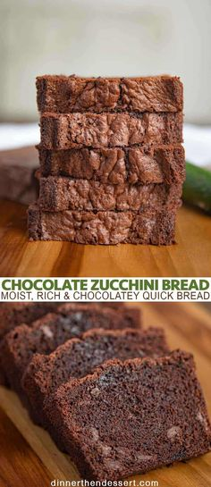 Chocolate Zucchini Bread (So Chocolatey & Rich!) - Dinner, then Dessert Chocolate Zucchini Bread is a moist, rich and chocolatey quick bread recipe that is full of flavor Easy Zucchini Bread, Chocolate Zucchini Bread, Banana Nut Bread, Zucchini Cake, Chocolate Bread Recipe, Blueberry Zucchini Bread, Healthy Zucchini, Monkey Bread, Chocolate Flavors