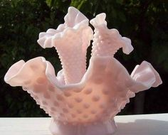 Pink Hobnail Glass Epergne