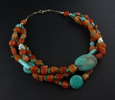 Chunky Turquoise Necklace  Earthy Statement by TheGemGypsy on Etsy, $105.00