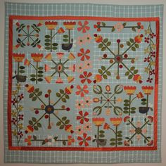 Abundance quilt pattern by Dawn Heese | Linen Closet Quilts. This is a mix of wool and cotton applique on a cotton background.