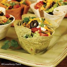 Gooseberry Patch Recipes: Chicken Taco Salad. Crisp, baked tortilla cups jam-packed with yummy ingredients!