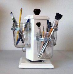 Ball Jar Desk Caddy, Desk Organizer, Utensil Caddy, Paint Brush, Pen, Pencil Holder. $127.00, via Etsy.