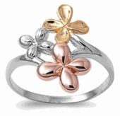 Sterling Silver Tri Tone Flower Ring ~ $19.47 at dreamlandjewelry.com