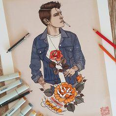 illustration by Rik Lee ( Rik Lee, Dream Tattoos, Stay Gold, Illustration Sketches, Illustrations, Limited Edition Prints, Pencil Art, Art Gallery, Drawings