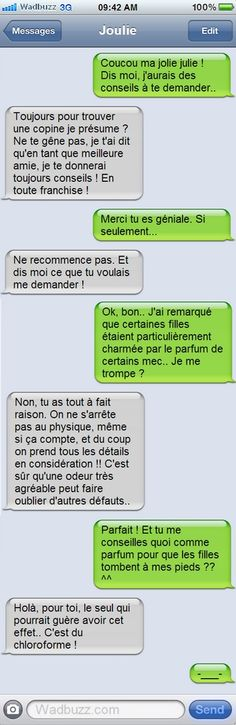 Conseil d'Amie... Trop franche ! - foozine.com Funny Messages, Text Messages, Frank Ocean, Texts, Haha, Funny Pictures, Funny Quotes, Jokes, Humor
