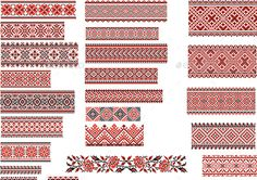 Folk Embroidery Patterns Patterns for Embroidery Stitch - Retro Technology - Set of Ukrainian ethnic patterns for embroidery stitch in red and black Hungarian Embroidery, Folk Embroidery, Learn Embroidery, Embroidery Patterns, Stitch Patterns, Embroidery Tattoo, Chain Stitch Embroidery, Embroidery Stitches Tutorial, Embroidery Techniques