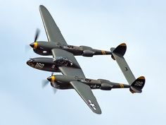 """P-38 Lightning - This plane had a distinctive sound from it's turbochargers. While there are a couple still flying to this day, most (all?) operate sans-turbo. It also killed Antoine de St. Exupéry (author of """"Le Petit Prince"""")."""