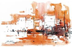 Can Am Landscaping Girard Il Product Watercolor City, Watercolor Sketch, Watercolor Landscape, Abstract Landscape, Watercolour Painting, Landscape Paintings, Watercolor Architecture, Urban Sketching, Art Graphique
