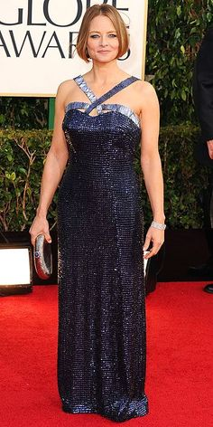 Trend spotting at the Golden Globes (Shades of Blue) -- Jodi Foster opted for a blue sequined halter