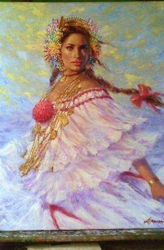 Pintura Mujer con Pollera Panama Pintor Luis Córdoba