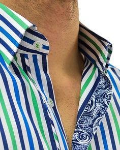 Stone Rose Striped Designer Dress Shirt - GREENNAVY