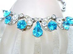 High End Bogoff Vintage Necklace Blue Rhinestone Designer Signed Rhodium Plated   eBay