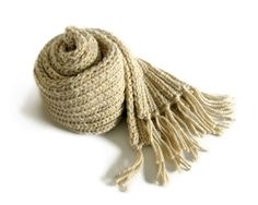 Scarf Knitted in Antique White Acrylic Wool Blend Yarn by branda, $65.00