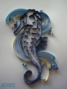 Quiller Seahorse  Paper Quilling Art Custom piece by aCoCC on Etsy