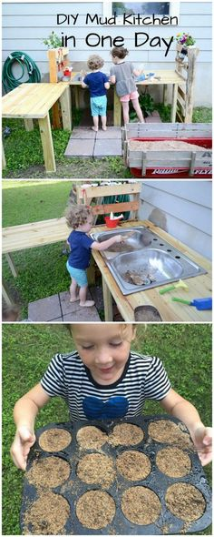 How to make a DIY mud kitchen in one day -- and play with it! via @handsonaswegrow