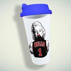 Marily Monroe, Bulls Basketball Double Wall Plastic Mug – giftmug Eco Friendly Cups, Bulls Basketball, Plastic Mugs, Gifts For Family, Wall Design