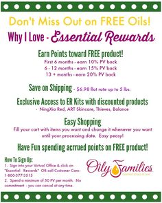I love Essential Rewards - more free products and discounts for Young Living members!!  #oilyfamilies #youngliving