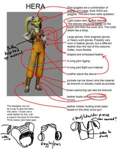 Dave Filoni's tips on costuming as Rebels' Hera Syndulla... But I thought the lekku were a living part of a Twi 'lek and here they're illustrated as part of the head gear... Either I'm wrong or this illustration is wrong.