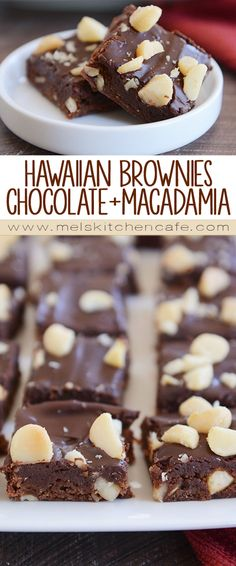 hawaiian food recipes These decadent Hawaiian brownies with macadamia nuts and fudge topping are absolutely amazing (and completely dangerous, if you know what I mean)! Luau Desserts, Hawaiian Desserts, Hawaiian Dishes, Easy Desserts, Delicious Desserts, Yummy Food, Hawaiian Recipes, Hawaiian Luau, Hawaiian Cookies