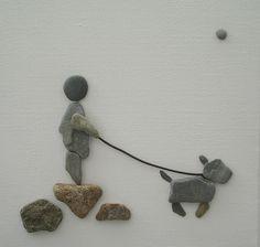 Pebble Art: Pebbles on canvas via Sandy Walker