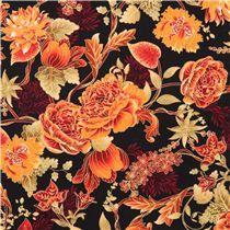 cremefarbener 'Kyoto' Geisha Gold Glitzer Stoff von Timeless Treasures USA - Blumenstoffe - Stoffe - kawaii shop modeS4u