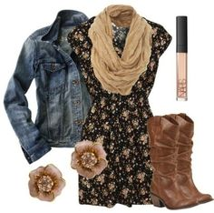 Denim Jacket, Brown and Black Floral Dress, a scarf and cowboy boots! I can see myself at the rodeo in this outfit.