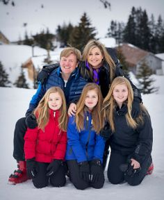 King Willem-Alexander and Queen Maxima of the Netherlands, with their daughters Crown Princess Catharina-Amalia, Princess Alexia and Princess Ariane attend the annual winter photocall 2017 in the alpine ski resort of Lech on February 27, 2017 in Austria. The Dutch Royal family is the spending their winter vacation on Arlberg Ski center in the western Austrian province.