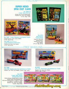 "Azrak-Hamway International (AHI) ""Batman"", ""Spider-Man"" and ""Mickey Mouse"" friction/free-wheeling toys"