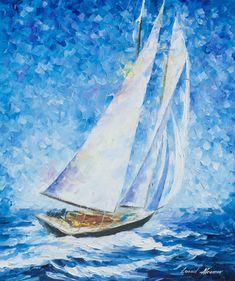 Sailboat Painting Sea Wall Art On Canvas By Leonid Afremov - Playa Del Carmen Sailing Oil Painting On Canvas, Canvas Art, Oil Paintings, Frida Art, Popular Paintings, Sailboat Painting, Boat Art, Impressionism, Watercolor Art