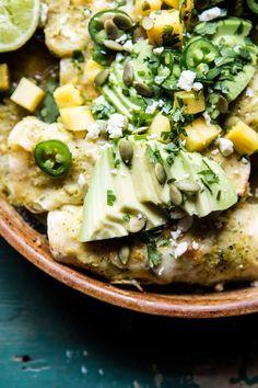 Lightened Up Salsa Verde Chicken Enchiladas with Pineapple Avocado Salsa | halfbakedharvest.com @hbharvest