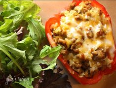Delicious peppers stuffed with ground turkey and brown rice, seasoned with cumin, cilantro and spices then baked and topped with cheese are one of my favorites!