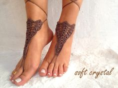 Crochet Barefoot Sandals, Nude shoes, Foot jewelry, Wedding, Victorian Lace, Sexy, Yoga, Anklet , Bellydance, Beach Pool