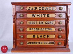 ButtonArtMuseum.com - Antique Oak J & P Coats 6 Drawer Spool ...