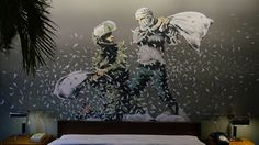 """Banksy has opened an """"all-inclusive vandals resort"""" five metres from the wall that separates Israel from the Palestinian West Bank."""