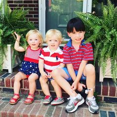 Patriotic NEDC kids Livia and Lincoln with big brother Liam.