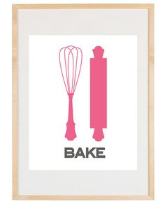 Art for Kitchen - Baking Basics - 8.5x11 Print - Digital Illustration Poster - Kitchen Art