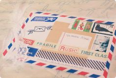 Washi tape in air mail design,  decorating the envelope ✉✈