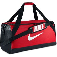 Nike Men's Training Duffel Bag ($45) ❤ liked on Polyvore featuring men's fashion, men's bags, red, mens bag, mens duffle bags and men's duffel bags
